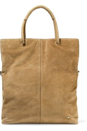 HALSTON HERITAGE Leather-trimmed suede tote