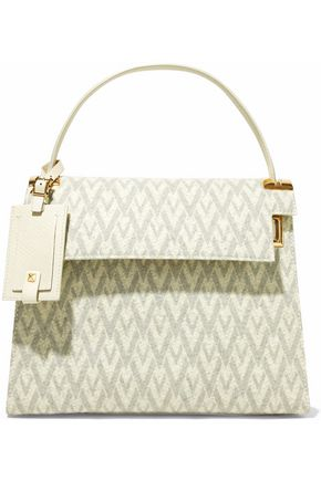 VALENTINO Printed felt and textured-leather shoulder bag