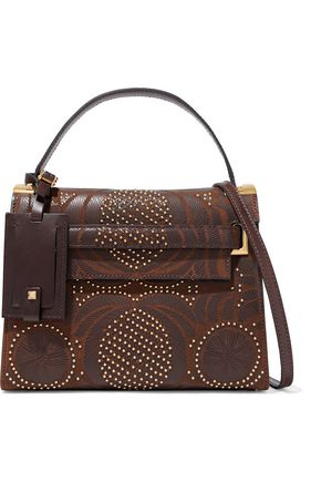 VALENTINO Studded laser-cut textured-leather shoulder bag