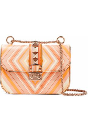 VALENTINO Glam Lock printed leather shoulder bag