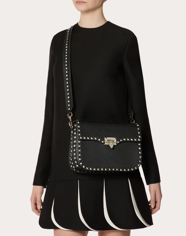 Medium Rockstud Grainy Calfskin Crossbody Bag