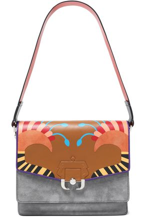 PAULA CADEMARTORI Paneled suede and printed leather shoulder bag