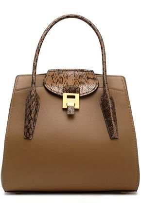 MICHAEL KORS COLLECTION Bancroft python-trimmed leather tote