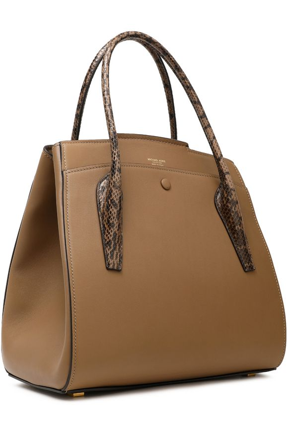 34fea757bba3 Bancroft python-trimmed leather tote
