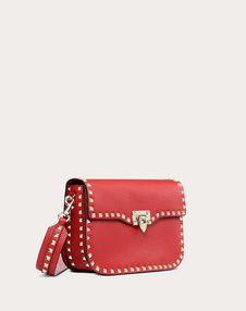 Medium Rockstud Grainy Calfskin Crossbody Bag