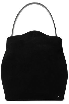 HALSTON HERITAGE Leather-trimmed suede shoulder bag