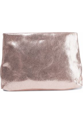 HALSTON HERITAGE Metallic cracked-leather clutch