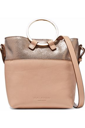 HALSTON HERITAGE Metallic cracked and smooth-leather shoulder bag