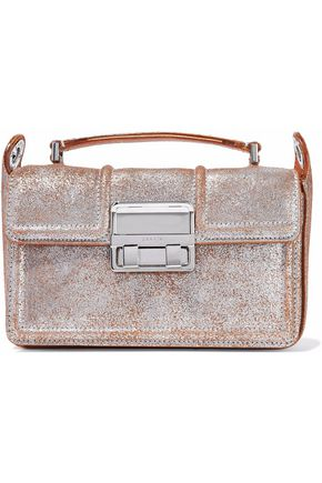 LANVIN Metallic cracked-leather shoulder bag