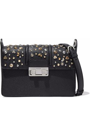 LANVIN Studded pebbled leather shoulder bag