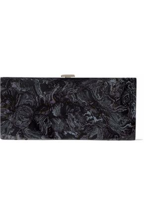 HALSTON HERITAGE Flat Minaudiere marbled acrylic box clutch