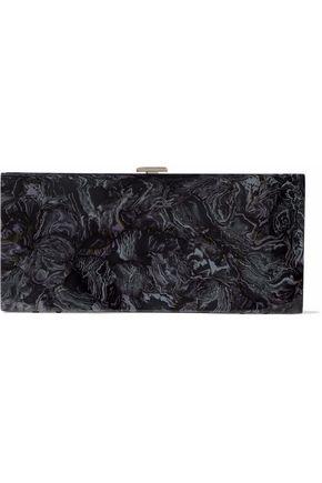 HALSTON HERITAGE Flat Minaudiere marbled acrylic box clutch