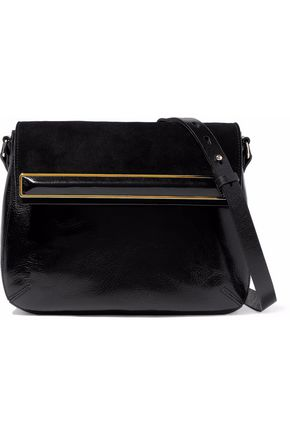 HALSTON HERITAGE Embellished suede-paneled patent-leather shoulder bag