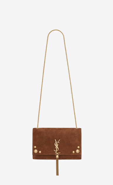 SAINT LAURENT MONOGRAM KATE WITH TASSEL Woman Medium Kate chain and tassel bag in studded mocha suede a_V4