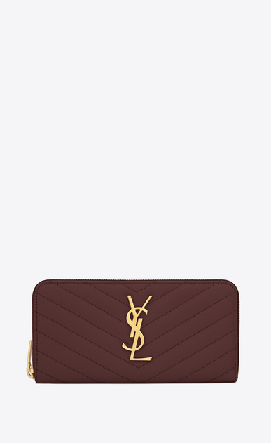 SAINT LAURENT Monogram Matelassé レディース Large Monogram zip wallet in burgundy textured and quilted leather a_V4