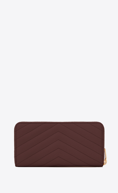 SAINT LAURENT Monogram Matelassé レディース Large Monogram zip wallet in burgundy textured and quilted leather b_V4
