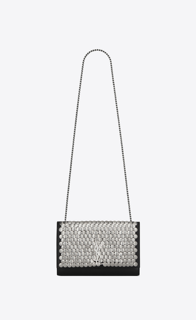 SAINT LAURENT MONOGRAM KATE Woman Medium Kate armature chain bag in black leather a_V4