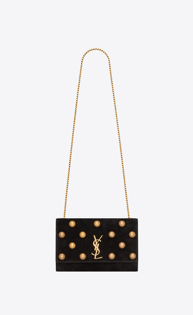 SAINT LAURENT MONOGRAM KATE Woman kate medium in suede and studs a_V4