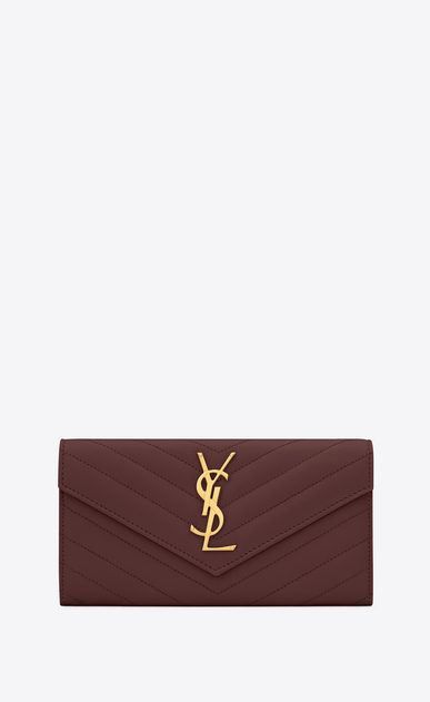 SAINT LAURENT Monogram Matelassé レディース Large flap front Monogram wallet in burgundy textured and quilted leather a_V4