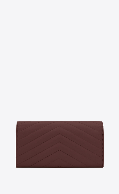 SAINT LAURENT Monogram Matelassé Woman Large flap front Monogram wallet in dark red textured and quilted leather b_V4