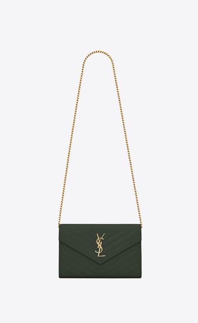 SAINT LAURENT Mini bags Matelassé Woman Monogram envelope wallet with chain in dark green textured and quilted leather a_V4