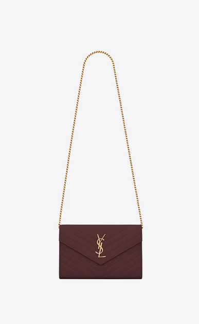 SAINT LAURENT Mini bags Matelassé Woman Monogram wallet with chain in burgundy textured and quilted leather a_V4