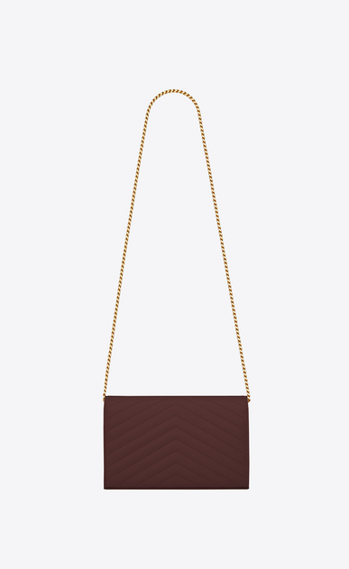 SAINT LAURENT Mini bags Matelassé Woman Monogram wallet with chain in burgundy textured and quilted leather b_V4