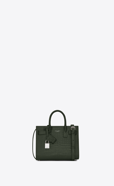 SAINT LAURENT Nano Sac de Jour Woman Nano Sac du Jour in shiny dark green crocodile embossed leather a_V4