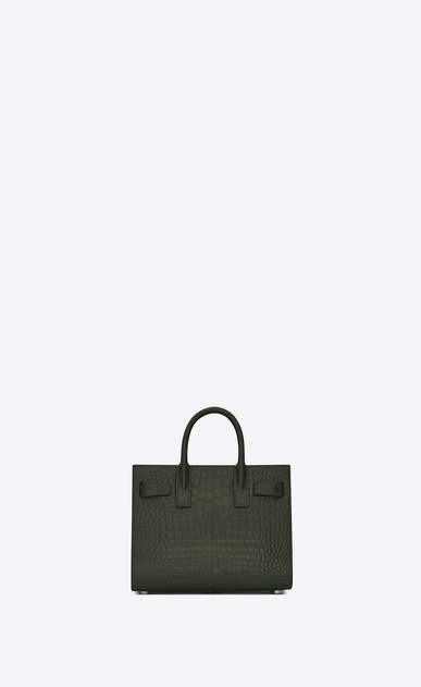 SAINT LAURENT Nano Sac de Jour Woman Nano Sac du Jour in shiny dark green crocodile embossed leather b_V4