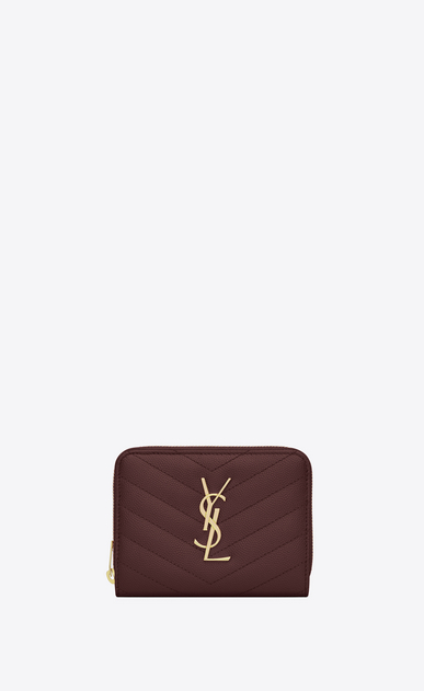 SAINT LAURENT Monogram Matelassé Woman Monogram compact zip wallet in dark red textured and quilted leather a_V4