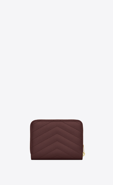 SAINT LAURENT Monogram Matelassé Woman Monogram compact zip wallet in dark red textured and quilted leather b_V4