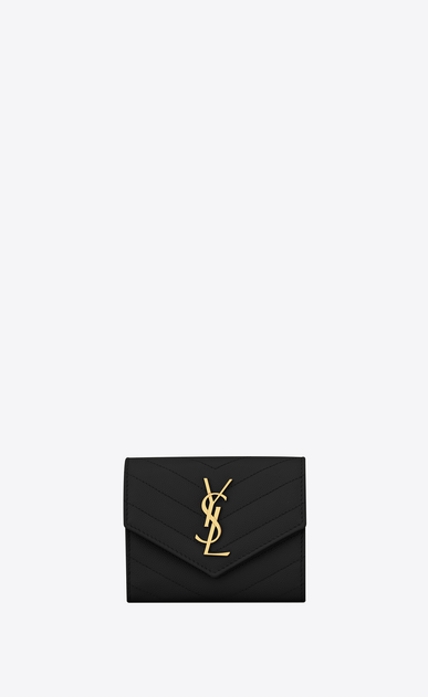 SAINT LAURENT Monogram Matelassé Woman Compact tri-fold Monogram wallet in black textured and quilted leather a_V4