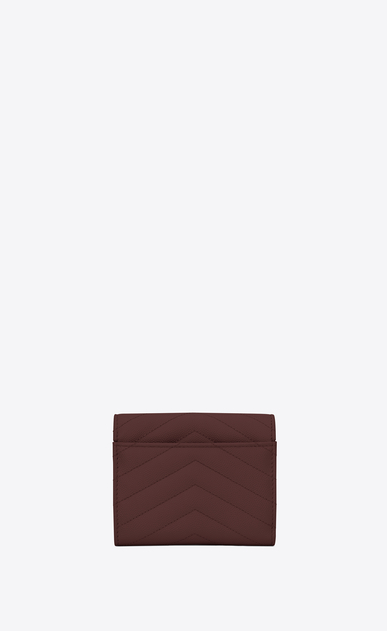 SAINT LAURENT Monogram Matelassé レディース Compact tri-fold Monogram wallet in burgundy textured and quilted leather b_V4