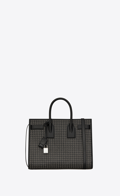 SAINT LAURENT Sac De Jour Small Woman Small Sac du Jour in black leather with silver studs and eyelets a_V4