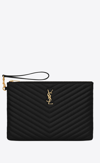 SAINT LAURENT Monogram Matelassé Woman Monogram tablet pouch in black quilted leather a_V4