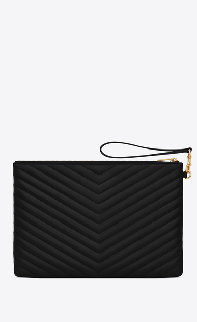 SAINT LAURENT Monogram Matelassé Woman Monogram tablet pouch in black quilted leather b_V4