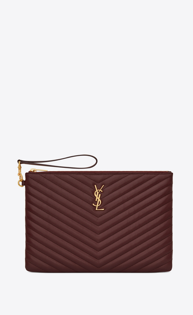 SAINT LAURENT Monogram Matelassé Woman Monogram tablet pouch in burgundy quilted leather a_V4