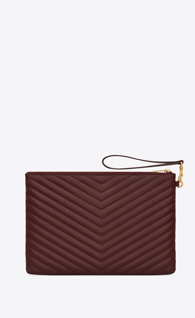 SAINT LAURENT Monogram Matelassé Woman Monogram tablet pouch in burgundy quilted leather b_V4