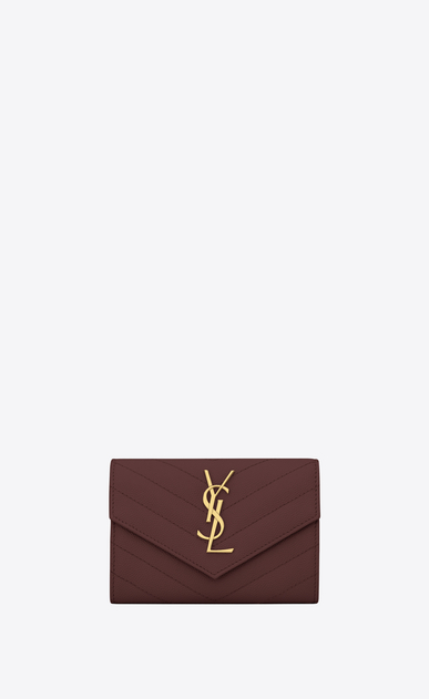 SAINT LAURENT Monogram Matelassé Woman Small Monogram envelope wallet in burgundy textured and quilted leather a_V4