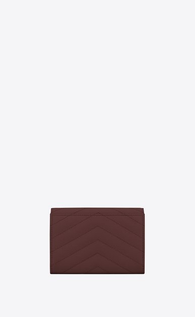 SAINT LAURENT Monogram Matelassé Woman Small Monogram envelope wallet in burgundy textured and quilted leather b_V4