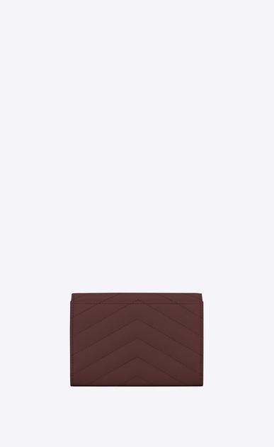 SAINT LAURENT Monogram Matelassé Damen Kleines Monogramme Portemonnaie mit Überschlag aus dunkelrotem Struktur- und Steppleder b_V4