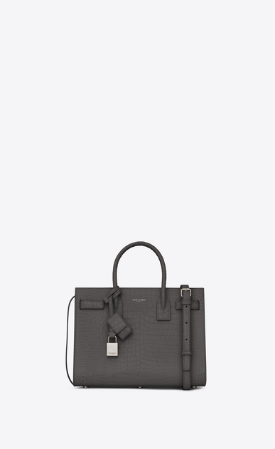 SAINT LAURENT Baby Sac de Jour Woman Baby Sac du Jour in shiny storm gray crocodile embossed leather a_V4