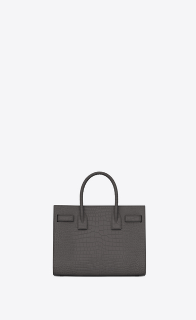 SAINT LAURENT Baby Sac de Jour Woman Baby Sac du Jour in shiny storm gray crocodile embossed leather b_V4