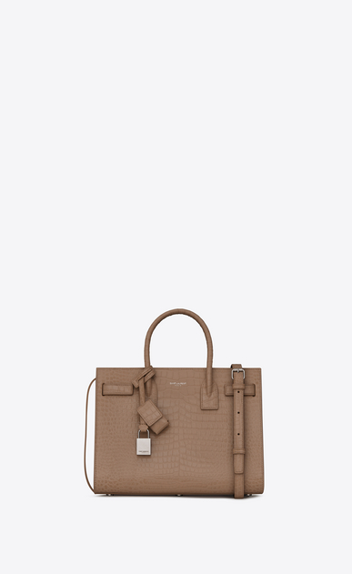 SAINT LAURENT Baby Sac de Jour Woman Baby Sac du Jour in shiny taupe crocodile embossed leather a_V4