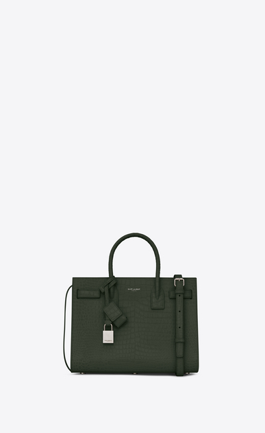 SAINT LAURENT Baby Sac de Jour Woman Baby Sac du Jour in shiny dark green crocodile embossed leather a_V4
