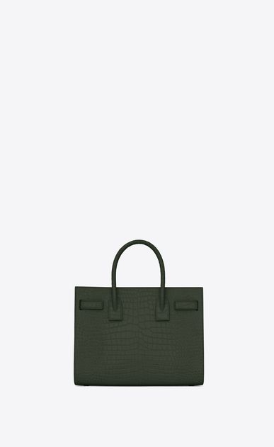 SAINT LAURENT Baby Sac de Jour Woman Baby Sac du Jour in shiny dark green crocodile embossed leather b_V4