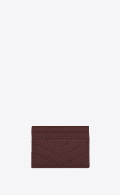 SAINT LAURENT Monogram Matelassé レディース Monogram card holder in burgundy textured and quilted leather b_V4