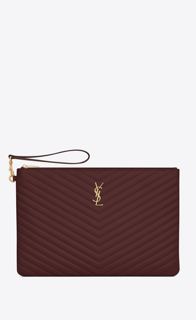 SAINT LAURENT Monogram Matelassé Woman Monogram document holder in dark red quilted leather a_V4
