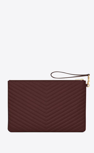 SAINT LAURENT Monogram Matelassé Woman Monogram document holder in dark red quilted leather b_V4