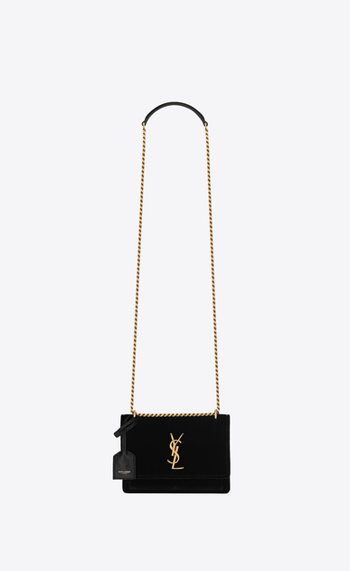 SAINT LAURENT Sunset Femme SUNSET small en velours a_V4